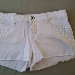 Candie's white denim shorts with metal studs